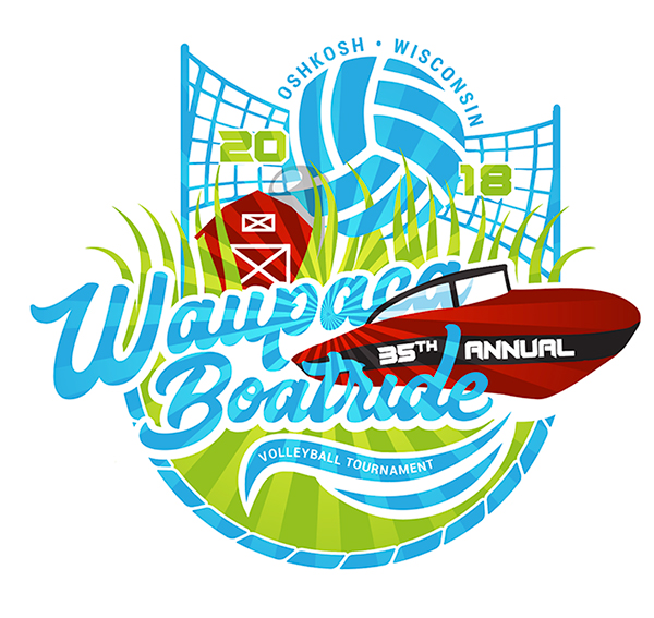 2018 Waupaca Boatride Volleyball Tournament T-Shirt