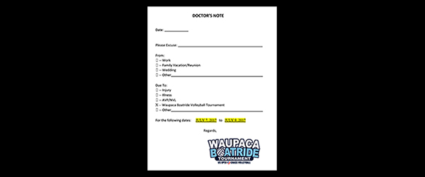 Waupaca Boatride - Doctor's Note