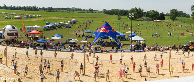 Waupaca Boatride Volleyball Tournament - Overhead View 2013