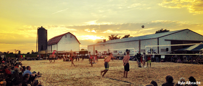 Waupaca Boatride Volleyball Tournament - Sand Doubles Sunset 2014