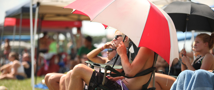 Waupaca Boatride Volleyball Tournament - Spectator Under Umbrella