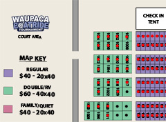 Waupaca Boatride Camping Site Map & Availability